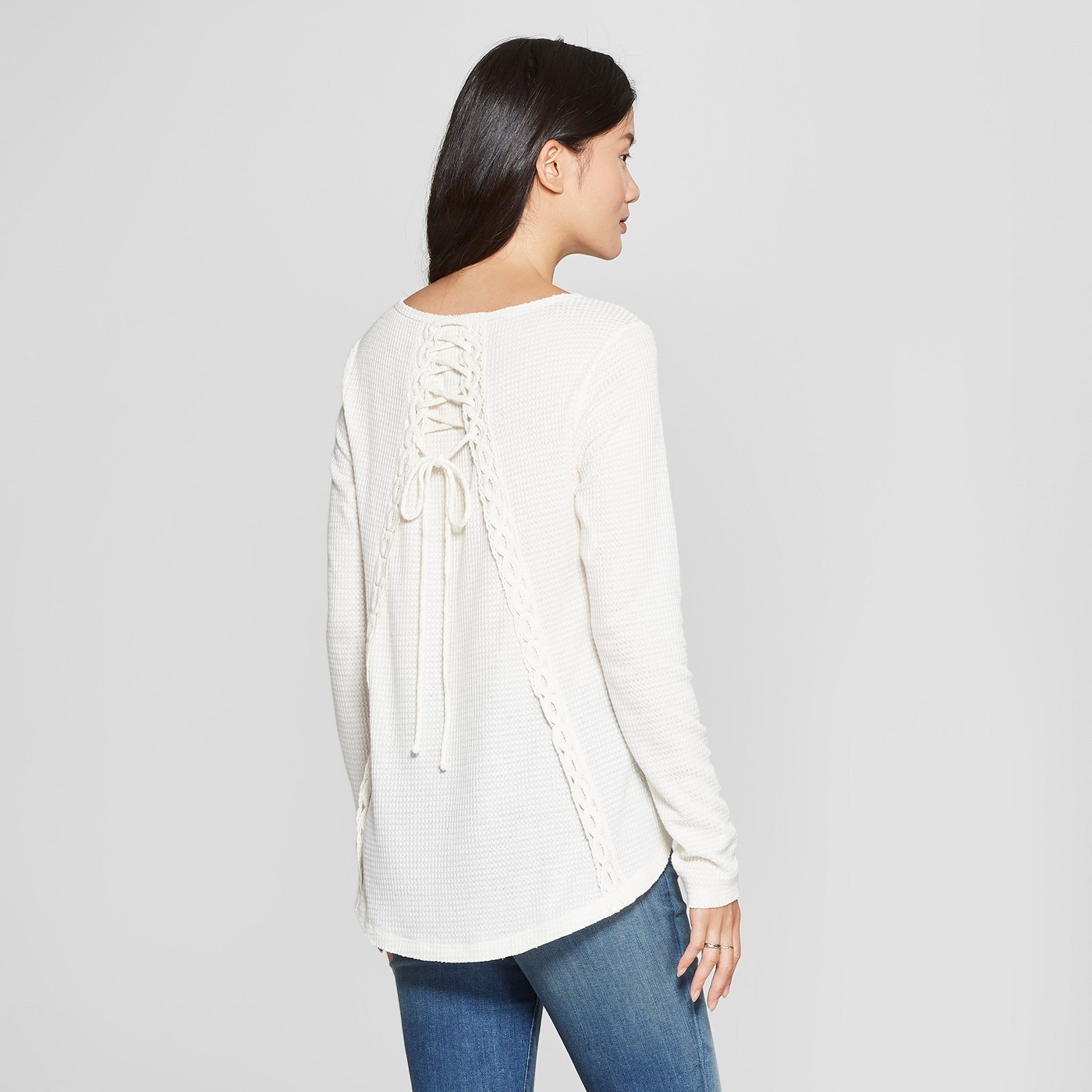 Women's Long Sleeve Waffle Knit Lace-Up Back Peasant Top - Knox Rose™ Ivory - image 2 of 2