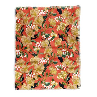 Marta Barragan Camarasa Flowering Sweet Bloom Woven Throw Blanket Orange - Deny Designs