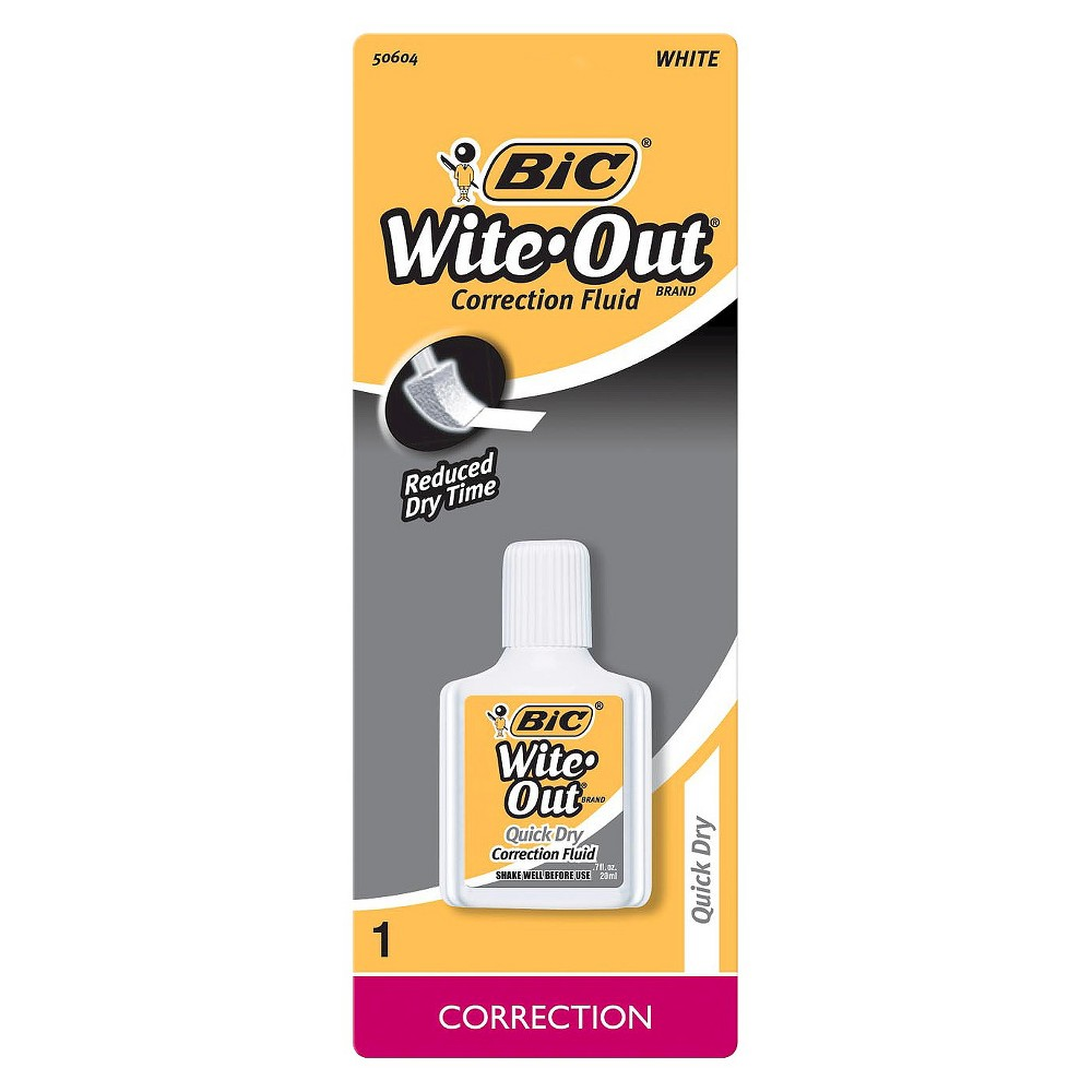 Image of BIC Wite-Out Correction Fluid, 0.7oz, White