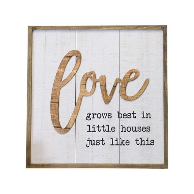 Wood  Love  Wall Sign Panels White 20.1  x 20.1  - VIP Home & Garden