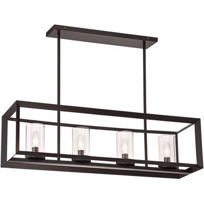"Franklin Iron Works Oil Rubbed Bronze Linear Pendant Chandelier 34 1/2"" Wide 4-Light Open Frame Clear Glass for Kitchen Island"