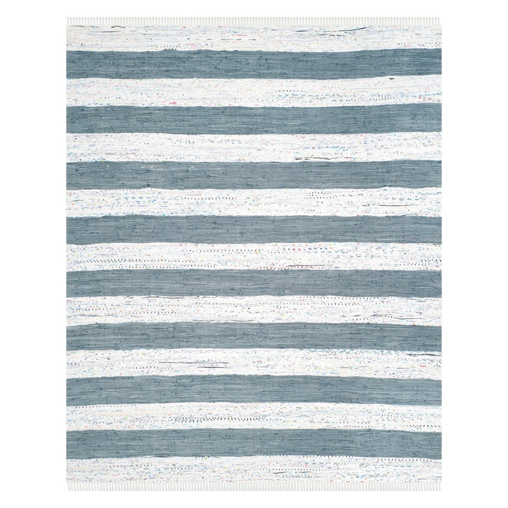 Stripe Woven Area Rug Ivory/Gray