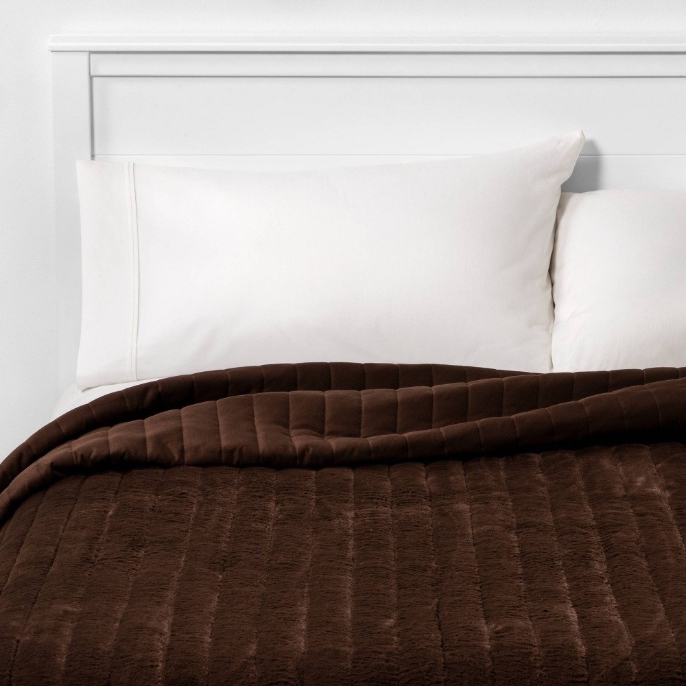 Best Reversible Heathered Flannel and Faux Fur Quilt  - Threshold™
