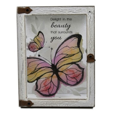 "Home Decor 6.0"" Butterfly Plaque Wall Framed  -  Wall Sign Panels"