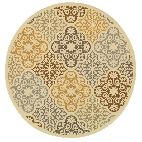 Bombay Floral Tile Patio Rug Ivory/Gray - image 1 of 4