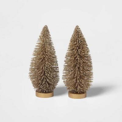 2pk Glitter Bottle Brush Christmas Tree Decorative Figurine Set Gold - Wondershop™