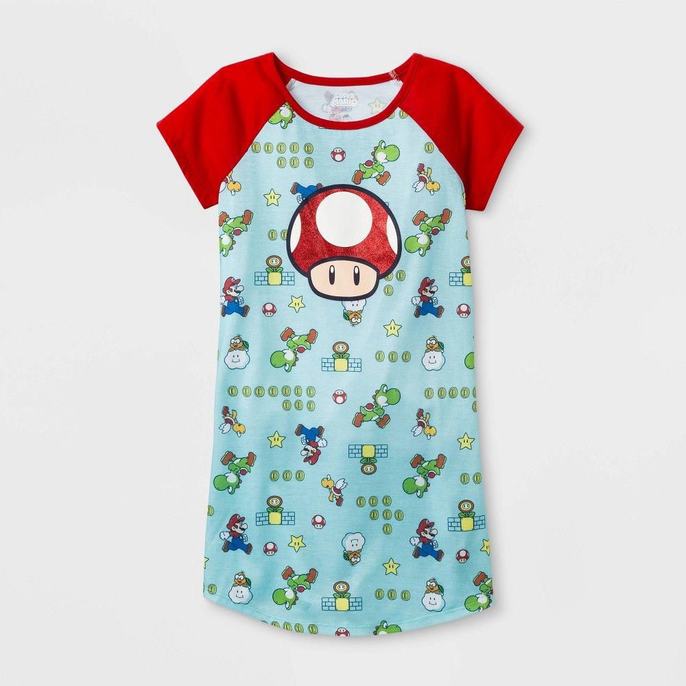 Girls' Super Mario Toad Nightgown - Green/Red M, Blue