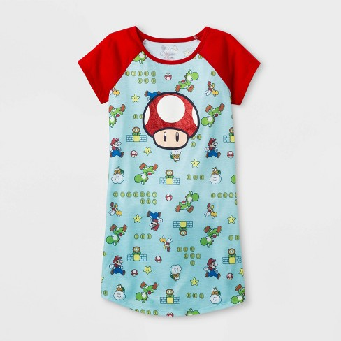 Girls' Super Mario Toad Nightgown - Green/Red - image 1 of 1