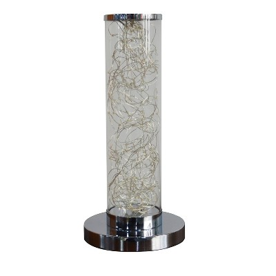"13"" Novelty Metal Tube Table Lamp (Includes LED Light Bulb) Silver - Ore International"