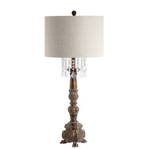 """33.5"""" Carlisle Resin/Acrylic LED Table Lamp Brown (Includes Energy Efficient Light Bulb) - JONATHAN Y - image 1 of 4"""