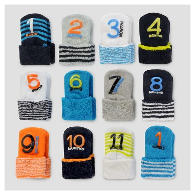 Baby Boys' 12pk Monthly Milestone Terry Cuff Sock - Just One You® made by carter's Blue/Gray/White 0-12M
