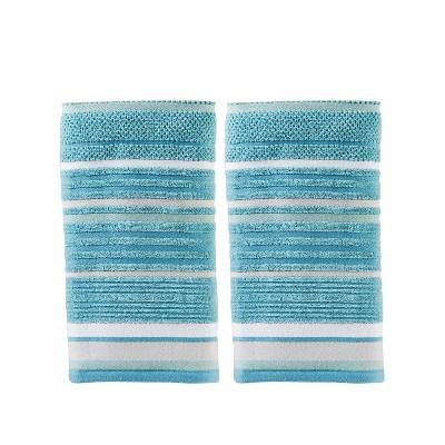 2pc Seabrook Stripe Hand Towel Bath Towels Sets Teal - Saturday Knight Ltd.