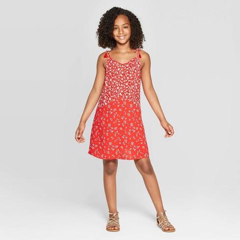 Girls' Tassle Tie Maxi Dress - art class™ Red - image 1 of 3