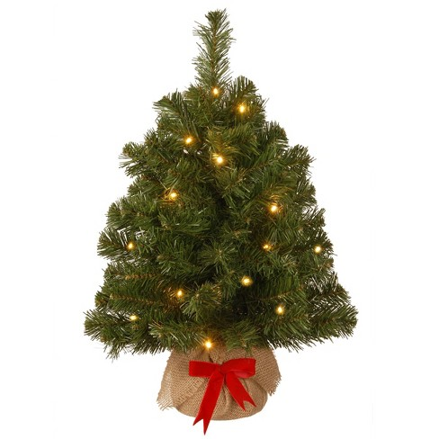 National Tree Company 2ft Noble Spruce Red Bow Artificial Tree 15ct Warm White LED - image 1 of 1