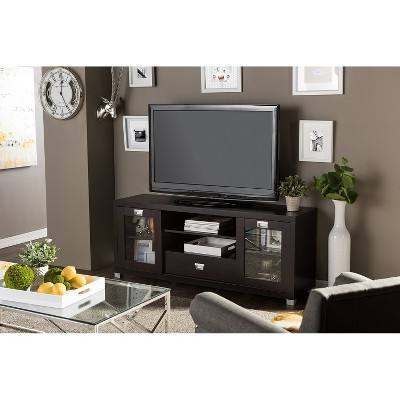 Matlock Modern TV Stand with Glass Doors Dark Brown - Baxton Studio