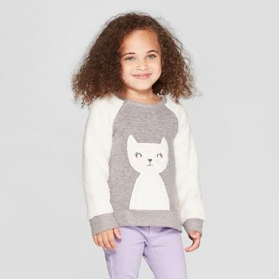 Toddler Girls' Cat Pullover Sweater - Cat & Jack™ Gray/Cream 18M