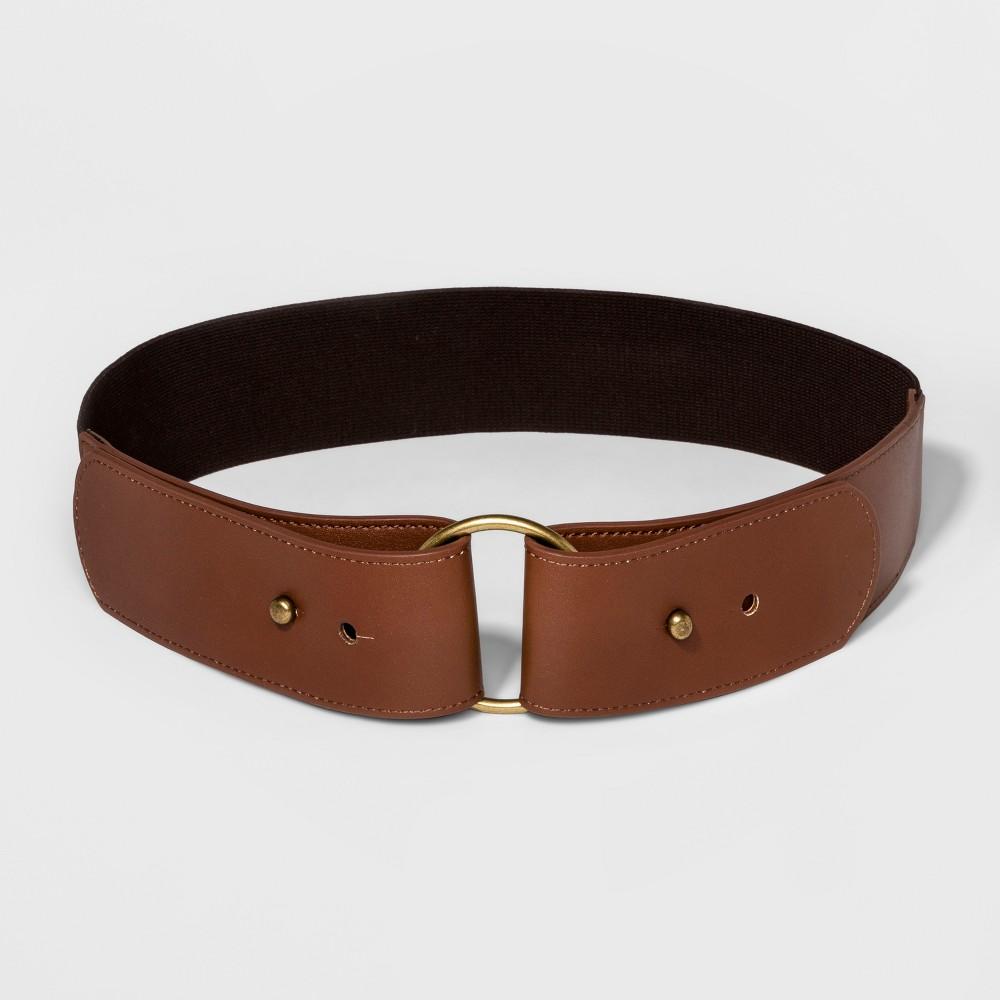 Women's Round Buckle Stretch Belt - Universal Thread Brown Xxl