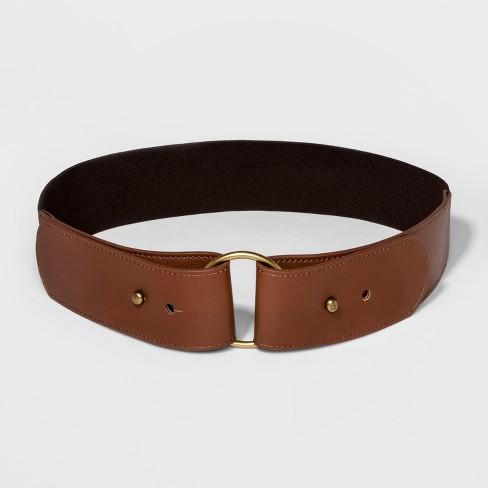 Women's Round Buckle Stretch Belt - Universal Thread™ Brown - image 1 of 2