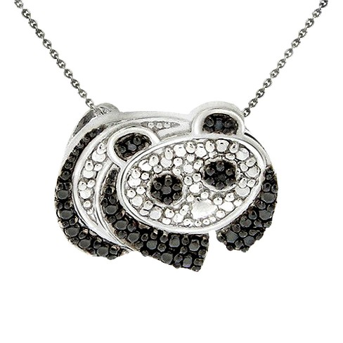 Sterling Silver Diamond Accent Panda Necklace - Black - image 1 of 1