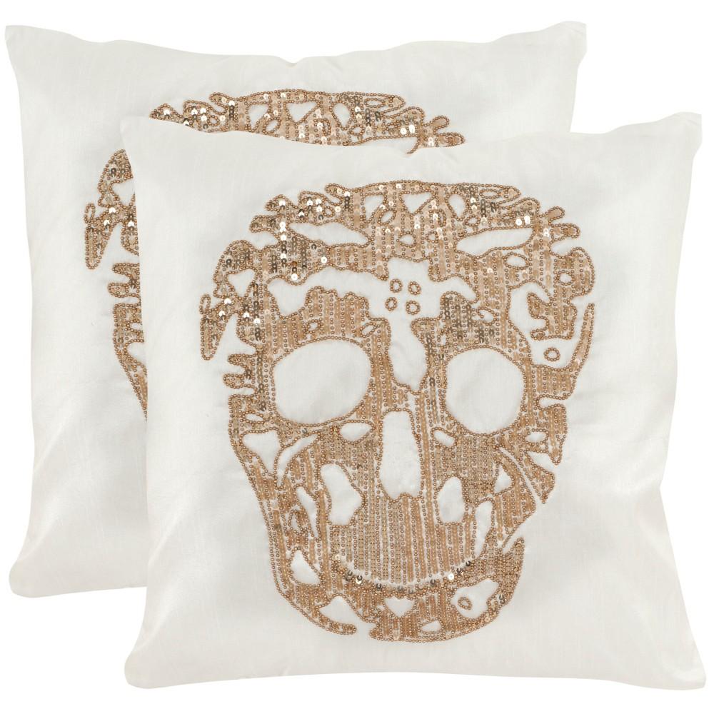 Set of 2 Punk Skull Square Throw Pillow Gold - Safavieh
