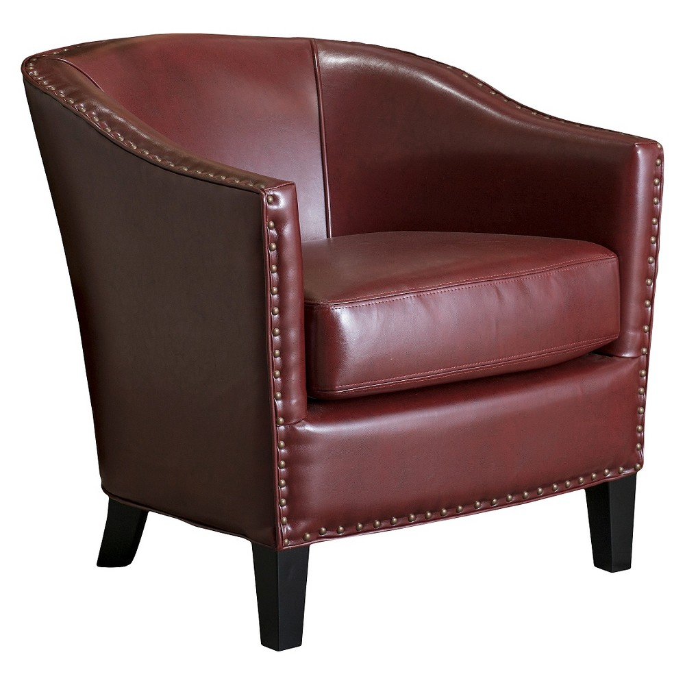 Austin Oxblood Leather Club Chair Red - Christopher Knight Home