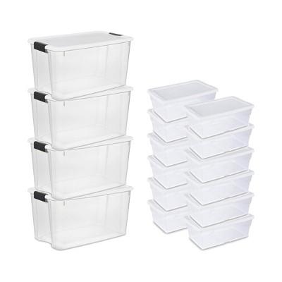 Sterilite 70 Quart Ultra Storage Container Box (4 Pack) + 6 Qt. Tote (12 Pack)