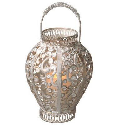 """Northlight 13"""" Distressed Gray and Gold Scroll Cut-Out Pillar Candle Lantern"""