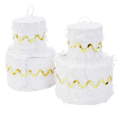 """Sparkle and Bash 2-Pack Mini White Cake Pinatas for Birthday Party Supplies, 7x5"""""""