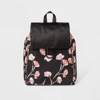 Floral Print Flap Backpack - A New Day™ Black