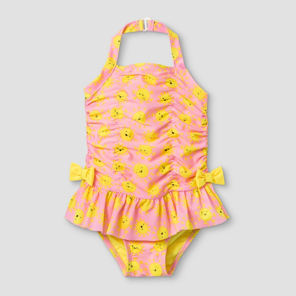 c73a614686e0 Toddler Girls Ruched One Piece Swimsuit Cat Jack Pink 2T