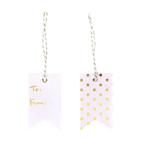 To&From Gift Tag White/Gold - Spritz™ - image 1 of 1