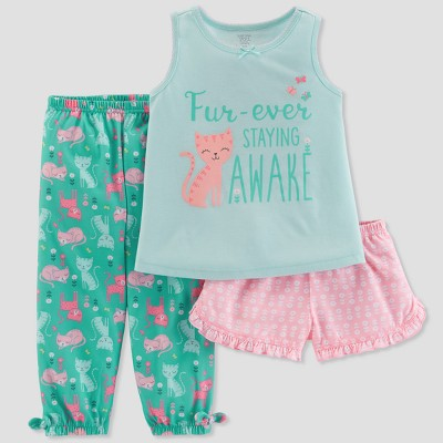 Baby Girls' 3pc Cat Fur-Ever Staying Awake Pajama Set - Just One You® made by carter's Green 12M