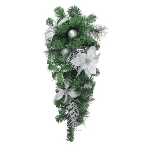 """Northlight 32"""" Unlit Silver Poinsettia and Pinecone Artificial Christmas Teardrop Swag - image 1 of 1"""