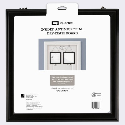 """14""""x14"""" 2-Sided Antimicrobial Dry Erase Board with Over-The-Door Hanger Black - Quartet"""