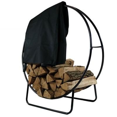 """Sunnydaze Outdoor Heavy-Duty Steel Firewood Log Hoop Storage Rack with Weather-Resistant PVC Log Hoop Cover - 48"""" - Black"""