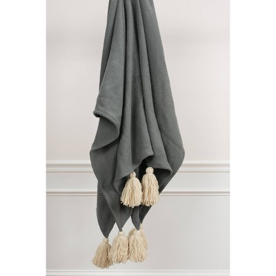 """50""""x60"""" Solid Throw Gray - Rizzy Home"""
