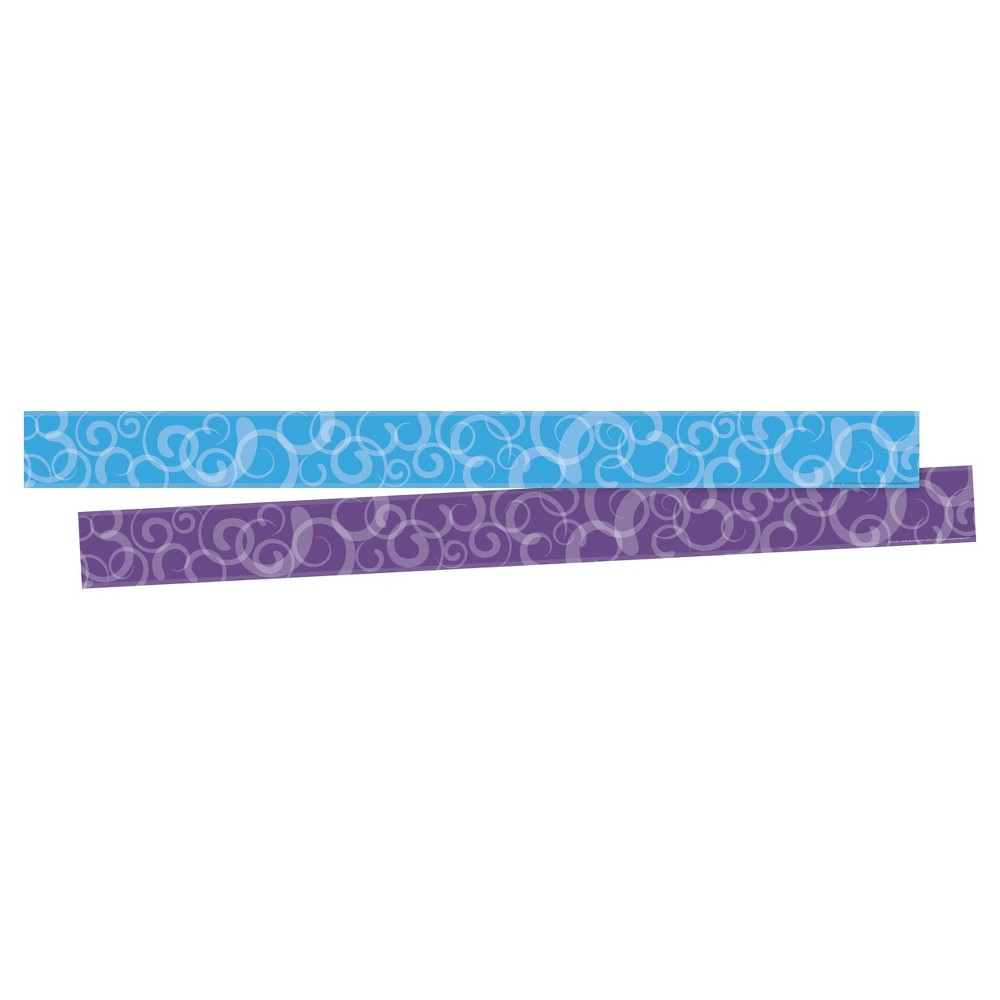 Barker Creek Bulletin Board Double-Sided Border - Blue & Purple Swirls