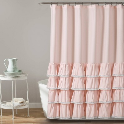 "72""x72"" Ella Lace Ruffle Shower Curtain - Lush Décor"