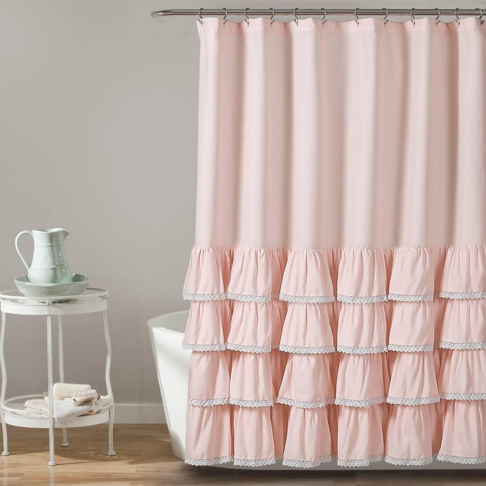"Image of ""72""""x72"""" Ella Ruffle Detailed Shower Curtain Blush - Lush Décor"""