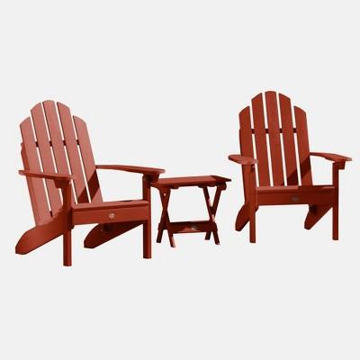 3pc Classic Westport Adirondack Patio Set Rustic Red - highwood