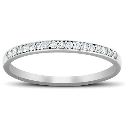 Pompeii3 1/5 Ct Diamond Wedding Ring 14k White Gold Stackable Anniverary Band