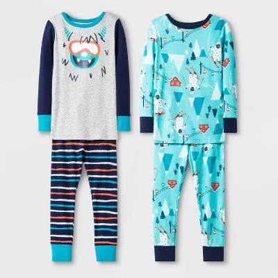 Baby Boys' 4pc 100% Cotton Yeti Pajama Set - Cat & Jack™ Gray/Blue/Orange 18M