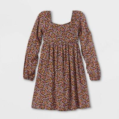 Girls' Long Sleeve Square Neck Dress - art class™