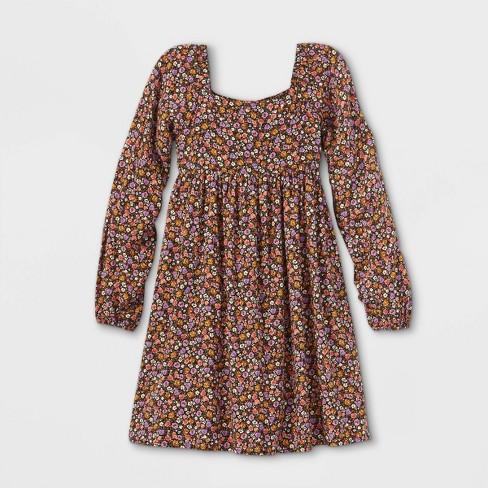 Girls' Long Sleeve Square Neck Dress - art class™ - image 1 of 2