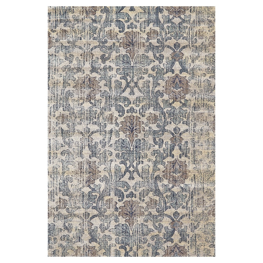 5'X7'6 Damask Woven Area Rugs Driftwood - Room Envy, Brown