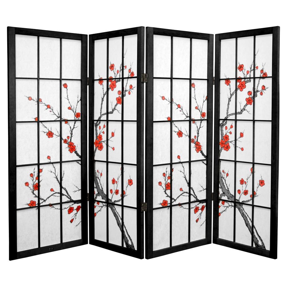 Image of 4 ft. Tall Cherry Blossom Shoji Screen - Black (4 Panels)