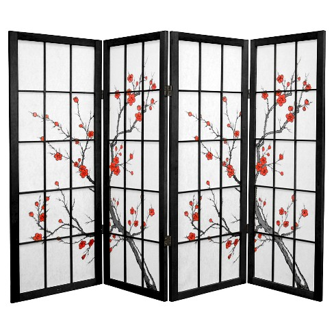 4 ft. Tall Cherry Blossom Shoji Screen - Black (4 Panels) - image 1 of 1