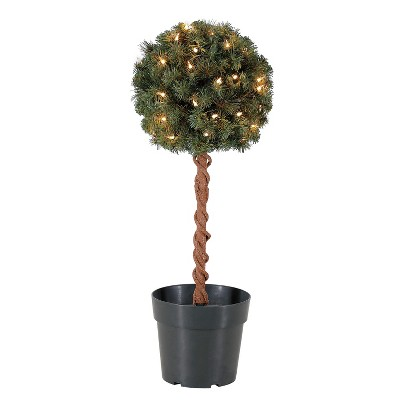 Home Heritage 2.5 Ft Artificial Topiary Tree w/ Clear Lights for Entryway Decor
