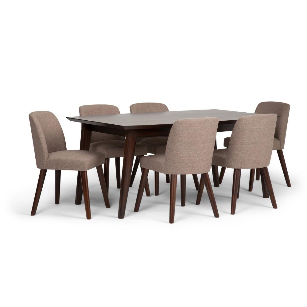 Adelia Solid Hardwood Mid Century 7pc Dining Set Fawn Brown - Wyndenhall
