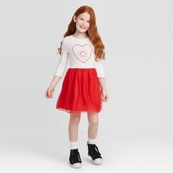 Girls' Long Sleeve Heart Dress - Cat & Jack™ Cream/Red